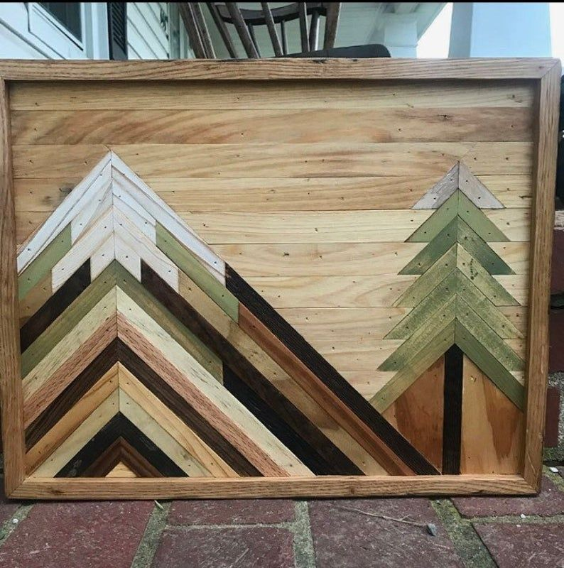 Wood Mountain Wall Art, Reclaimed Wood Wall Art, Mountain Picture, Mountain Wood Art, Reclaimed Wood, Modern Farmhouse, Entryway
