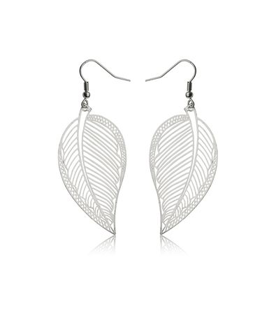 Gina Tricot - Silver Leaf Drop Earrings <3 these