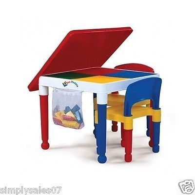 Kids Construction Lego Building Table Chair Set Furniture Play ...