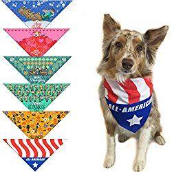 X-Small Patriotic Dogs on Blue Dog Bandana
