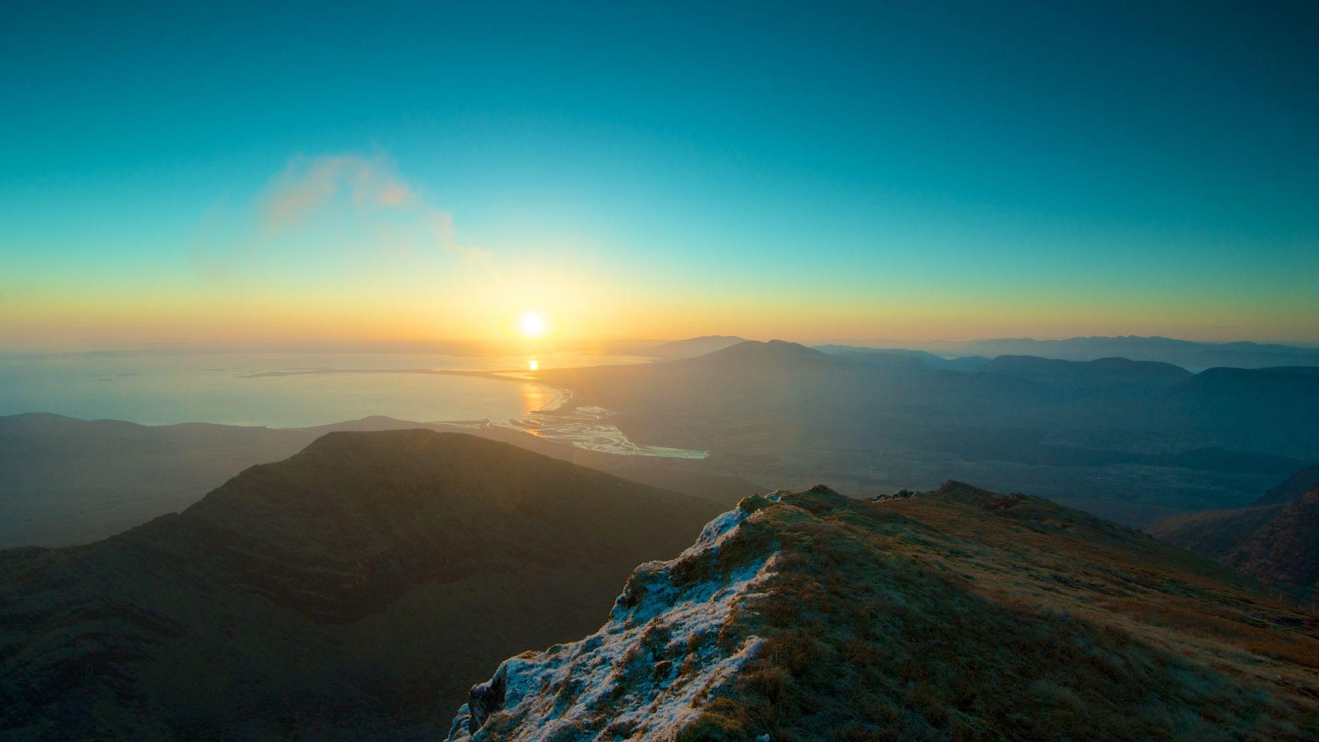 hd hintergrundbilder berge sonnenaufgang sonne licht wasser bucht 1920x1080