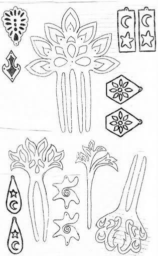 104f2fe8f9 patrones para peinetas y pendientes d carey