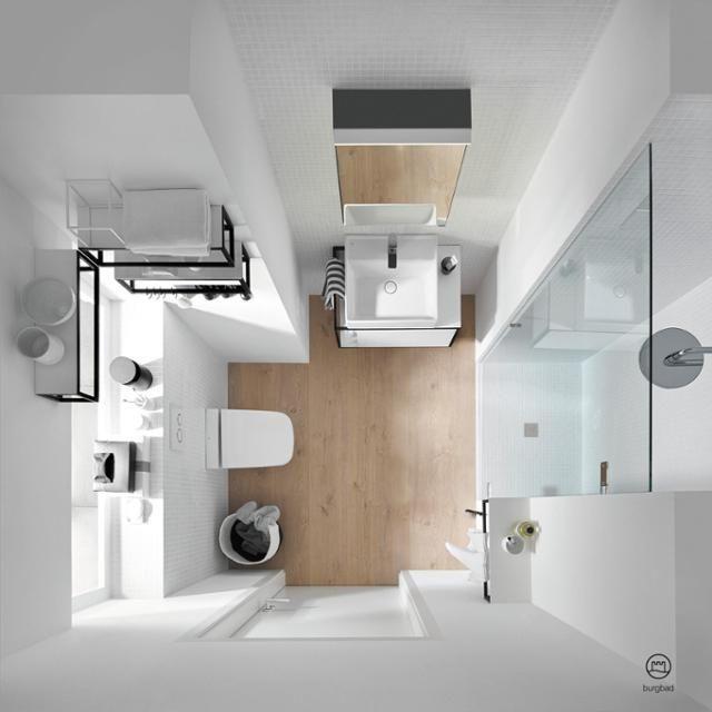 Badezimmer-Draufsicht mit Junit-Badmöbeln von burgba Bathroom