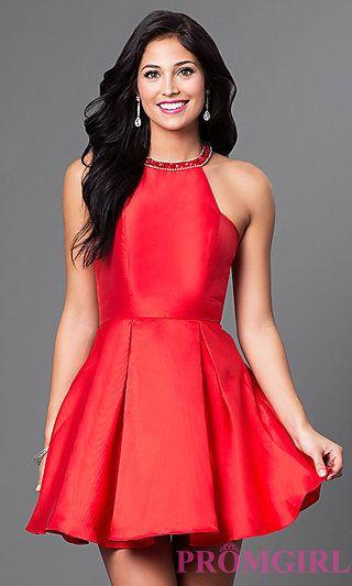 Short Red Racerback Dress at PromGirl.com | for ems | Pinterest ...