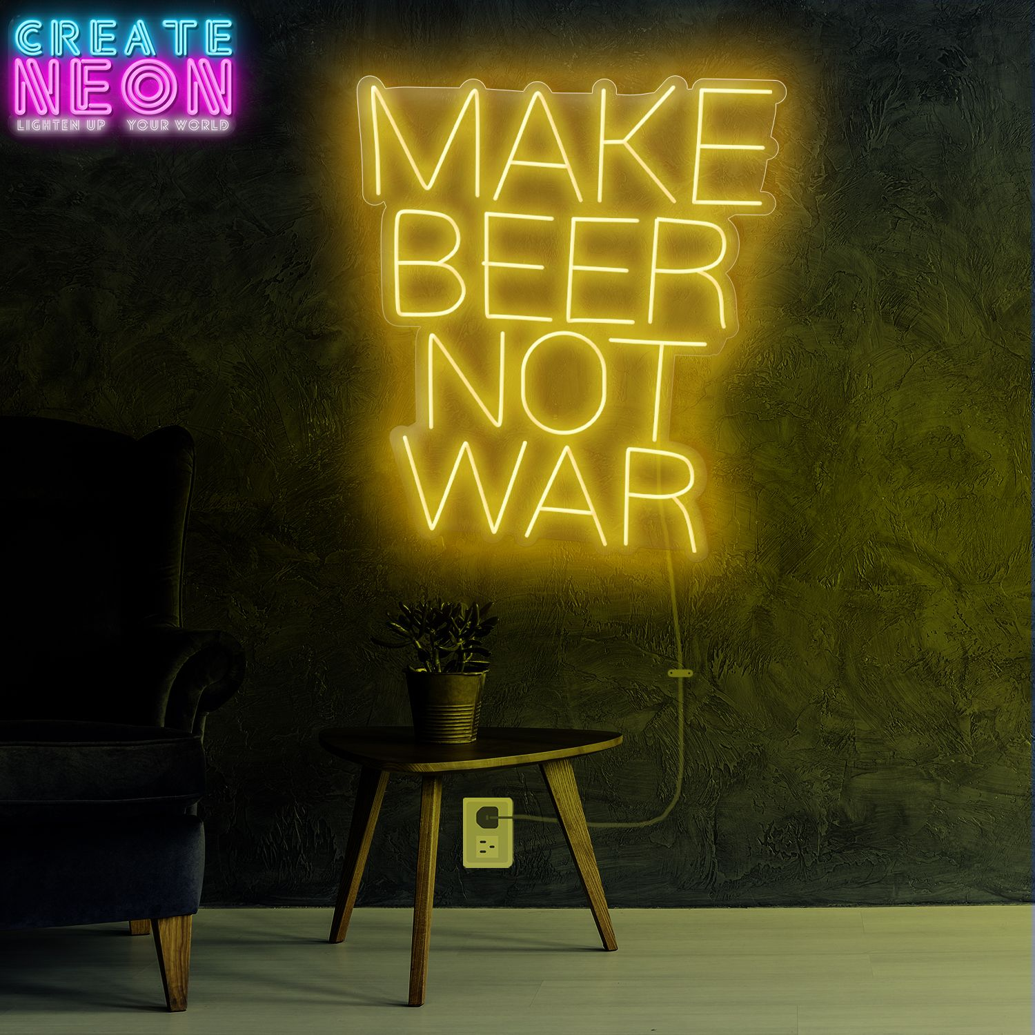Make Beer Not War Neon Sign Cheers for the beer! Take this one to the pool room or make a mate share it. This chic LED bar Make Beer Not War Neon Sign is suitable for your bar, weddings and events at home. Asshownhereyoucanpurchaseitorselectanothercolor.  On any space with adjustable lights of Custom Neon Bar Signs, add a distinctly personal touch. For your recreation room, home bar or man cave, you might get a trendy name sign or put y