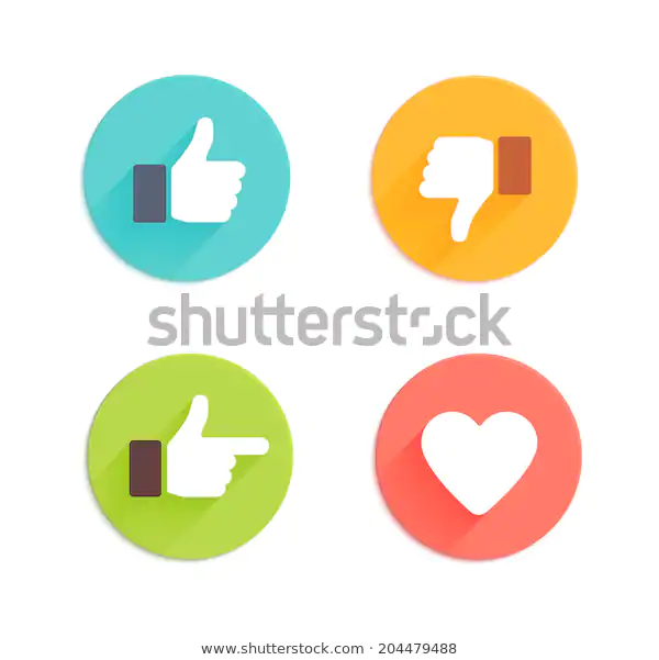 Thumbs Down Heart Signs On Colorful Stock Vector Royalty Free 204479488 Heart Sign Thumbs Up Icon Heart Icons