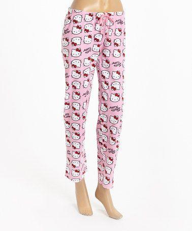 3d0b38341 Pink & White Hello Kitty Head Pajama Pants - Women by Hello Kitty  #zulilyfinds