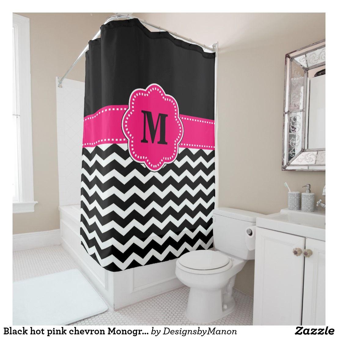 Black Hot Pink Chevron Monogram Shower Curtain Zazzle Com Shower Curtain Monogram Pink Chevron Custom Shower Curtains