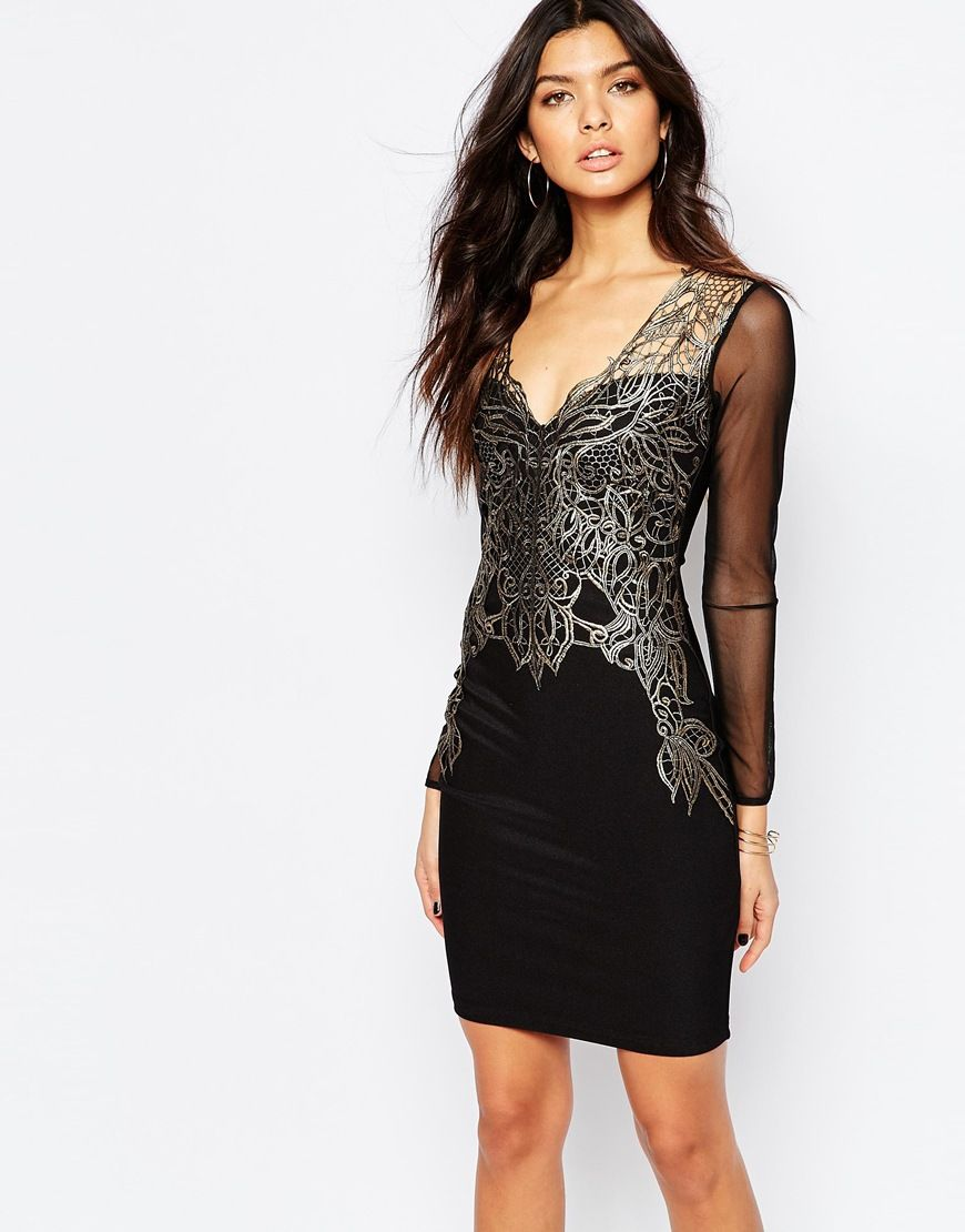 b969b765 Michelle Keegan Loves Lipsy Lace Applique Front Bodycon Dress. ASOS ...