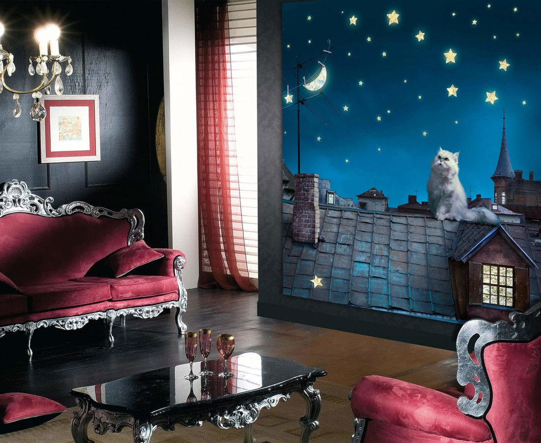 Bedroom at night time - Night Time Kitten Wall Mural By Wallandmore Great Children Room Idea To Create The Bedroom