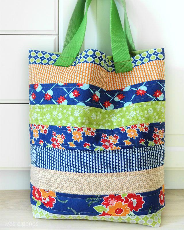 Nähanleitung: Einkaufstasche (Eine Jelly Roll - 3 Taschen). | Rollen ...