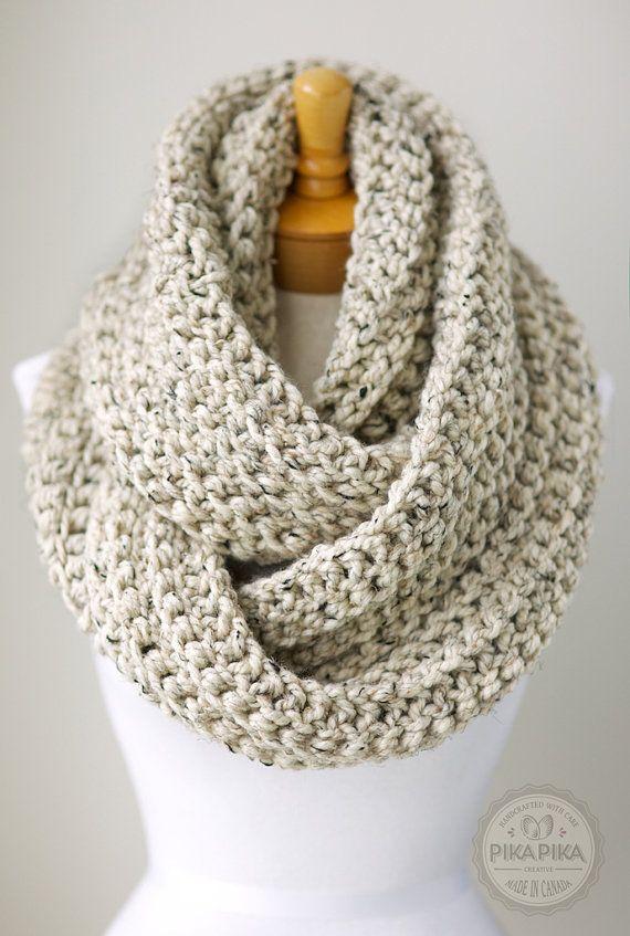 Oversized infinity scarf, chunky crochet scarf, crochet knit scarf ...