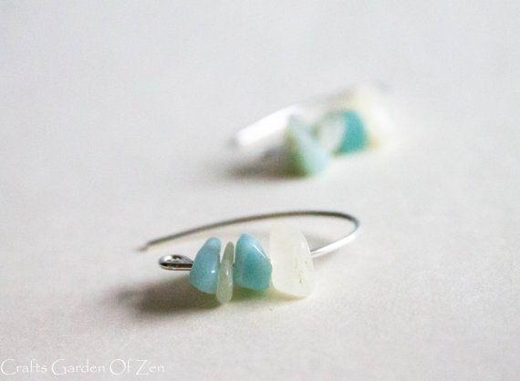 Silver french earrings aragonite and jade earrings silver earrings cream hony champagne french hook earrings on Etsy, $35.00