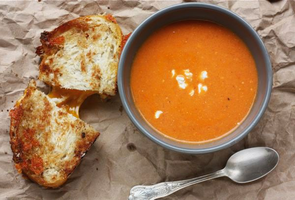 Goat cheese tomato soup with grilled cheese.