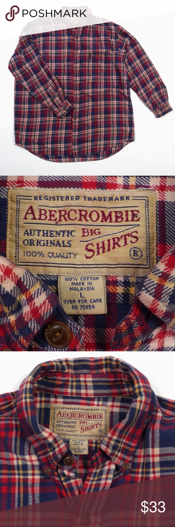 Flannel shirts 1990s  Abercrombie BIG SHIRTS Flannel VTG Outdoors Rugged  My Posh Closet