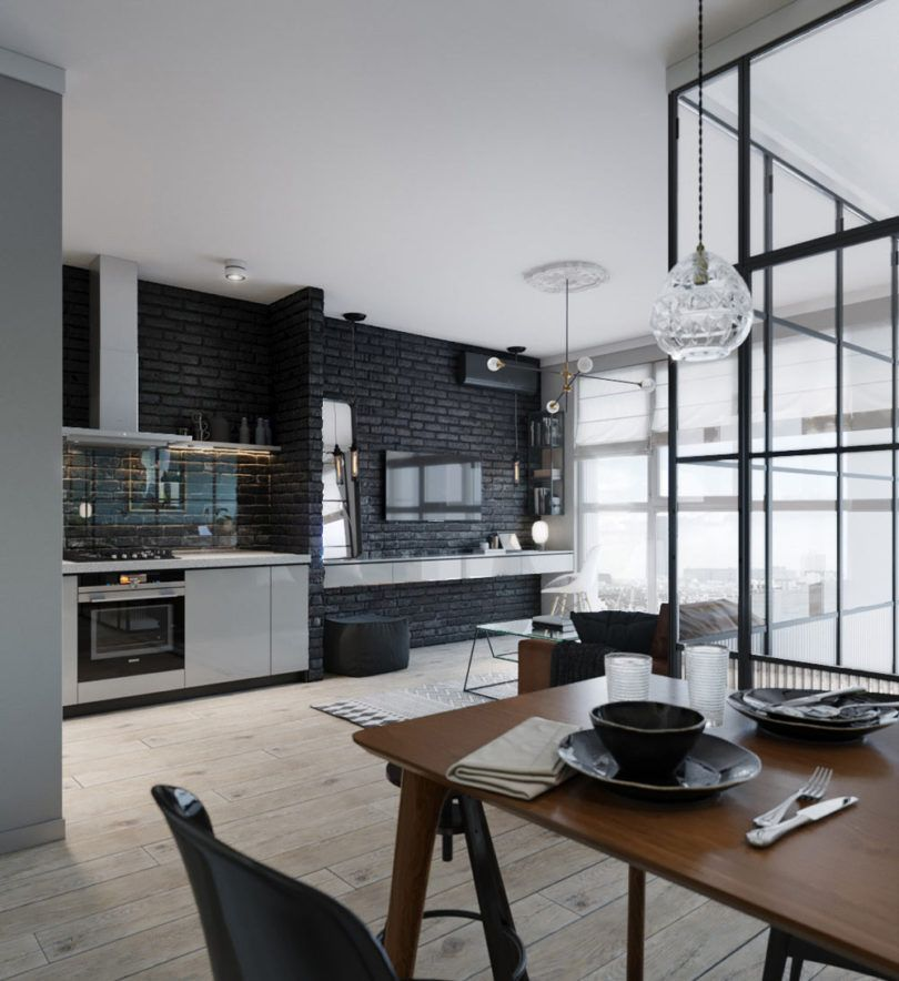 A Compact Apartment In Kiev With A Glass Enclosed Bedroom Designs De Cozinha Apartamentos Pequenos Cozinha Parede De Tijolos