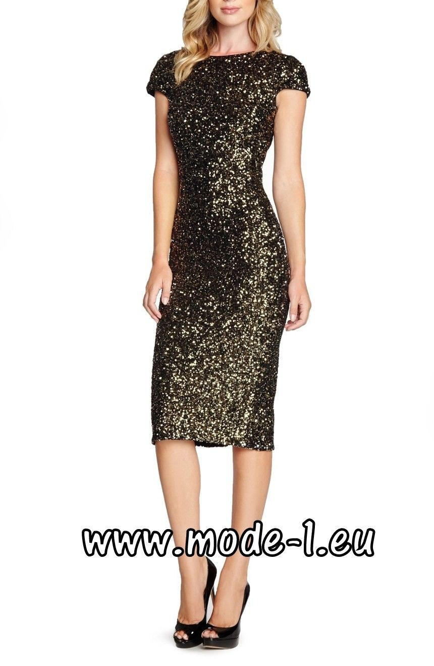 Wadenlanges Pailletten Kleid 19 in Gold Schwarz  Pailletten