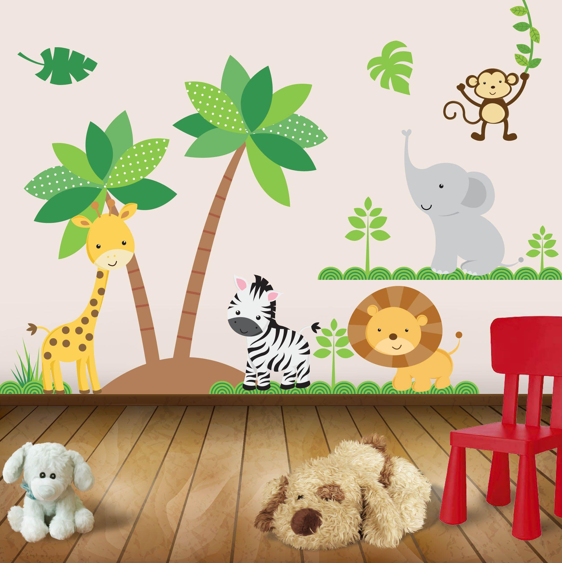 Kit de vinilo decorativo autoadhesivo animales de la selva for Murales decorativos para bebes