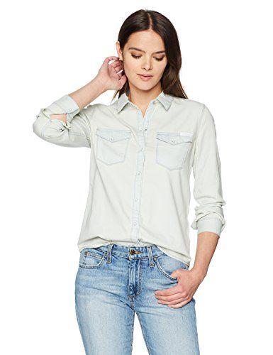 d934d240d5 Calvin Klein Jeans Women s Long Sleeve Salt Wash Western ...