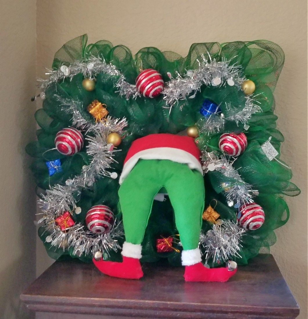 Grinch Wreath Made Out Of Dollar Tree Supplies Grinch Wreath Grinch Christmas Decorations Christmas Wreaths Diy