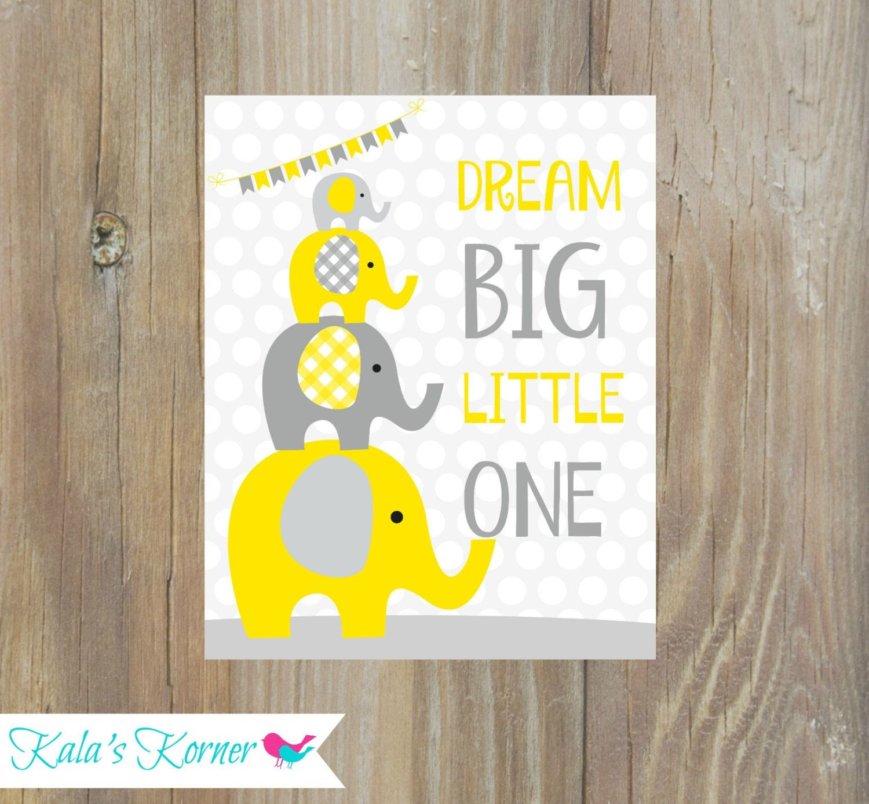 Elephant nursery decor - yellow gray nursery | Kala\'s Korner ...