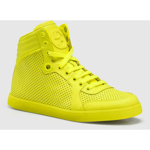 fd01b4624 Gucci Coda Neon Yellow Leather Sneaker ($295) ❤ liked on Polyvore featuring  shoes, sneakers, sale, women's shoes, yellow, yellow shoes, leather  sneakers, ...