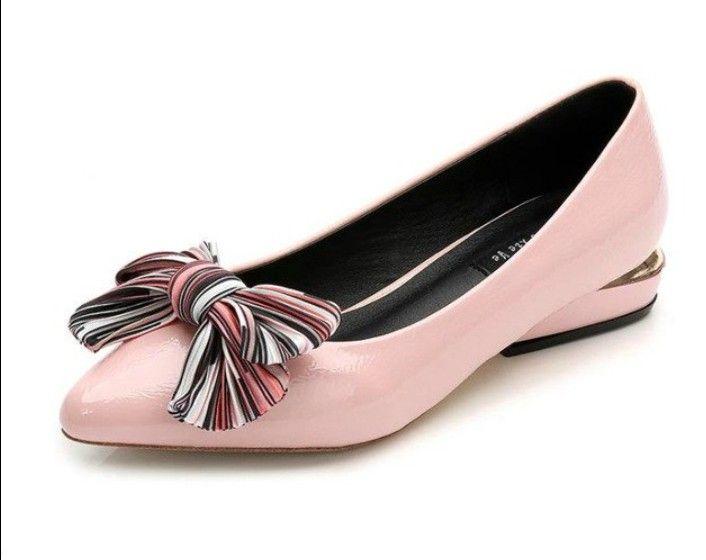 Jolies Ballerines Rose Ornees D Un Nœud Raye Women Shoes Fashion Shoes Accessories Shoes