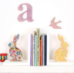 Liberty Print Fabric Bunny Bookend - decorative accessories