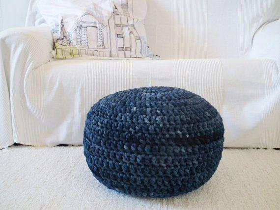 Peachy Navy Blue Tie Dye Floor Pouf Ottoman Round Footstool Navy Machost Co Dining Chair Design Ideas Machostcouk