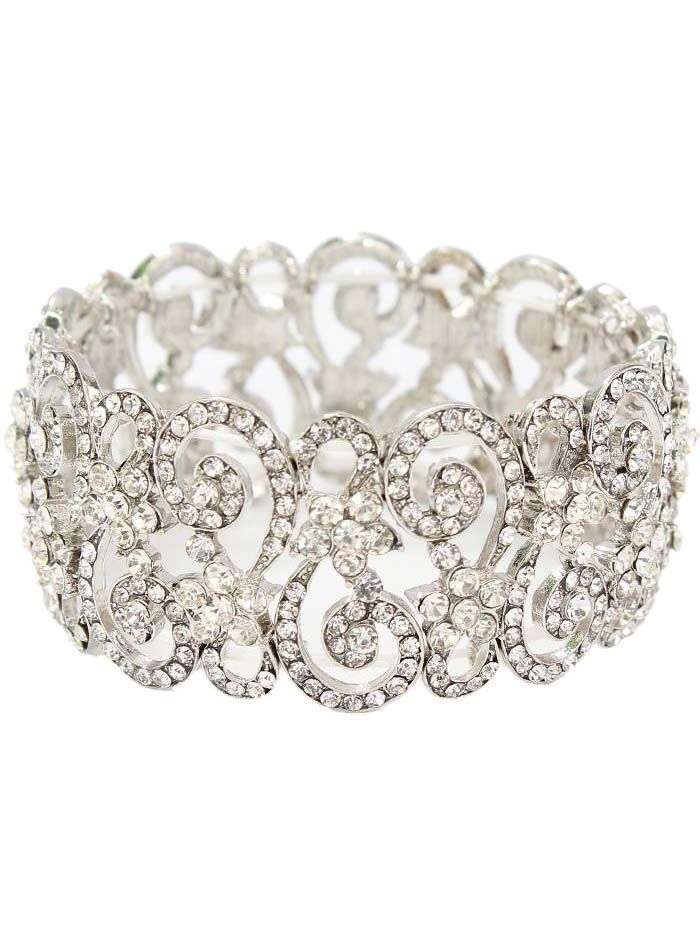 P Rhinestone Stretch Bracelet In A Silvertone Metal Openwork Filigree And Flower Mounting Channel Set Crystals G Stones