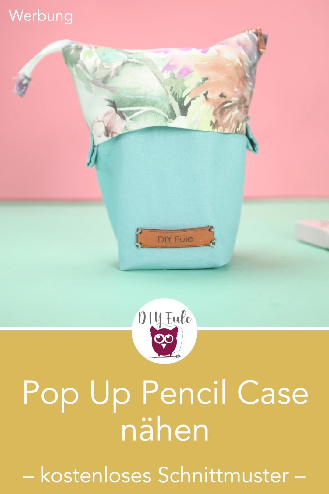 [Werbung] Pop Up Pencil Case nähen mit kostenlosem Schnittmuster. Federtasche für 50