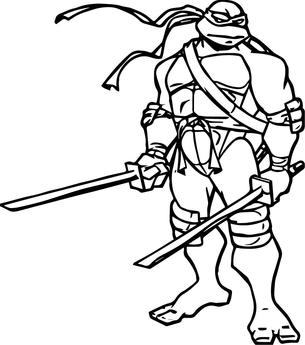 Cool Ninja Turtle Two Blade Leonardo Coloring Page Turtle Coloring Pages Ninja Turtle Coloring Pages Ninja Turtles