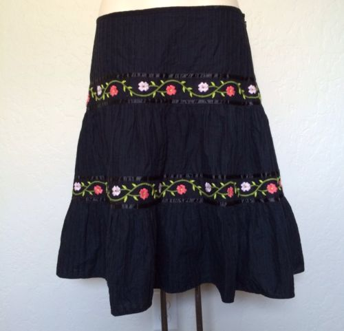 2X 18/20 Venezia Tiered Boho Peasant Mexican Flower Embroidered Plus Sz Skirt