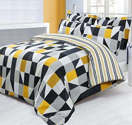 Double Bed Printed Reversible Geometric Jazz Yellow Black Duvet