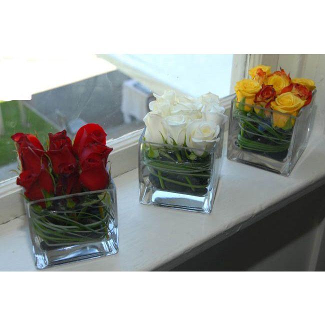 Images Roses In Square Vase Roses In Square Cube Vase Centerpiece Flowers 1 Diy Vase Glass Vases Centerpieces Square Glass Vase