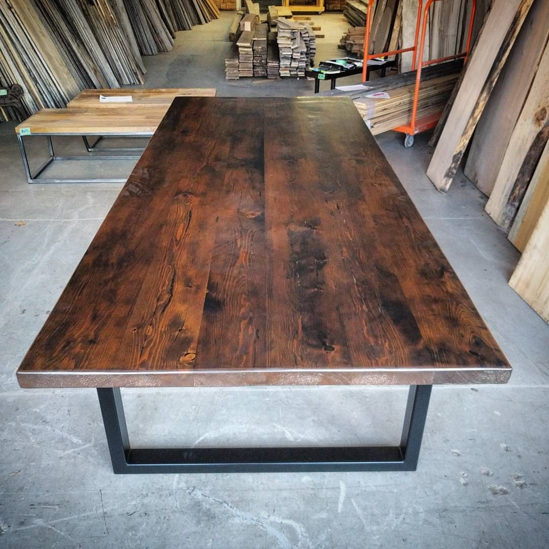 Large Harvest Table Made With Reclaimed Barn Floor Boards   Darker Stain    Mounted On Chunky
