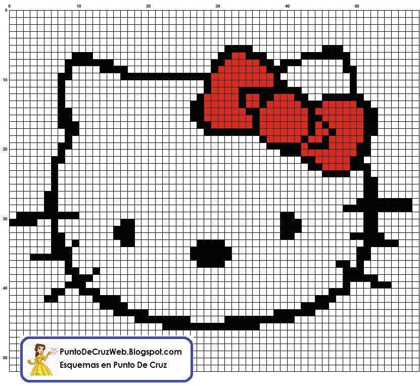 Carita Hello Kitty Punto De Cruz | Patrones y Esquemas En Punto De ...