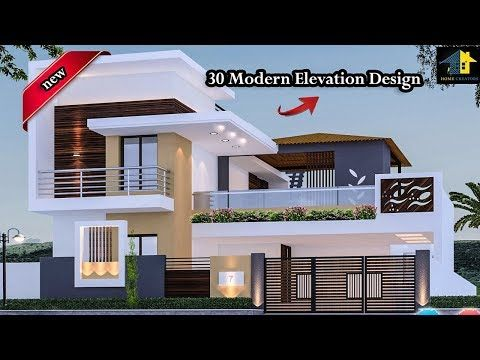 30 Beautiful Modern House Front Elevation Design Double Floor Youtube Kerala House Design House Layouts House Front Design