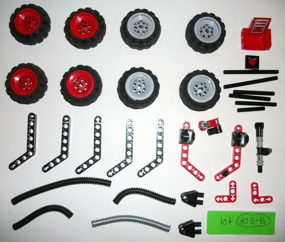 LEGO 6579 6580 Red Technic Mindstorms Robot Wheels Tires Flex Tube ...