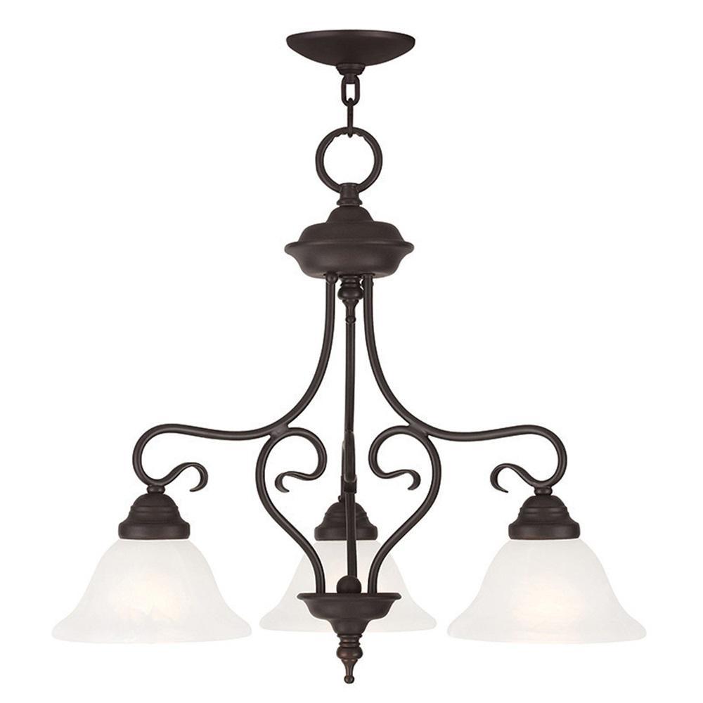 Livex Lighting Coronado 3 Light Bronze Pendant Chandelier Shades