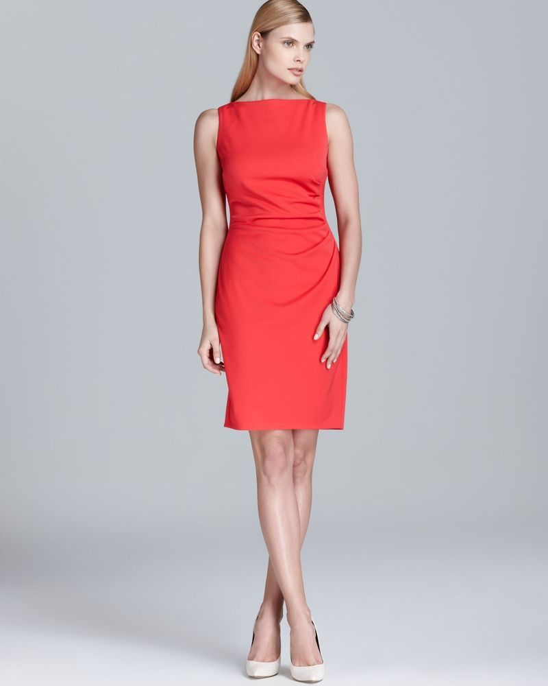 Anne Klein Dress Sz 14 Coral Pink Solid Sleeveless Ruched Business Cocktail  #AnneKlein #Sheath #Cocktail