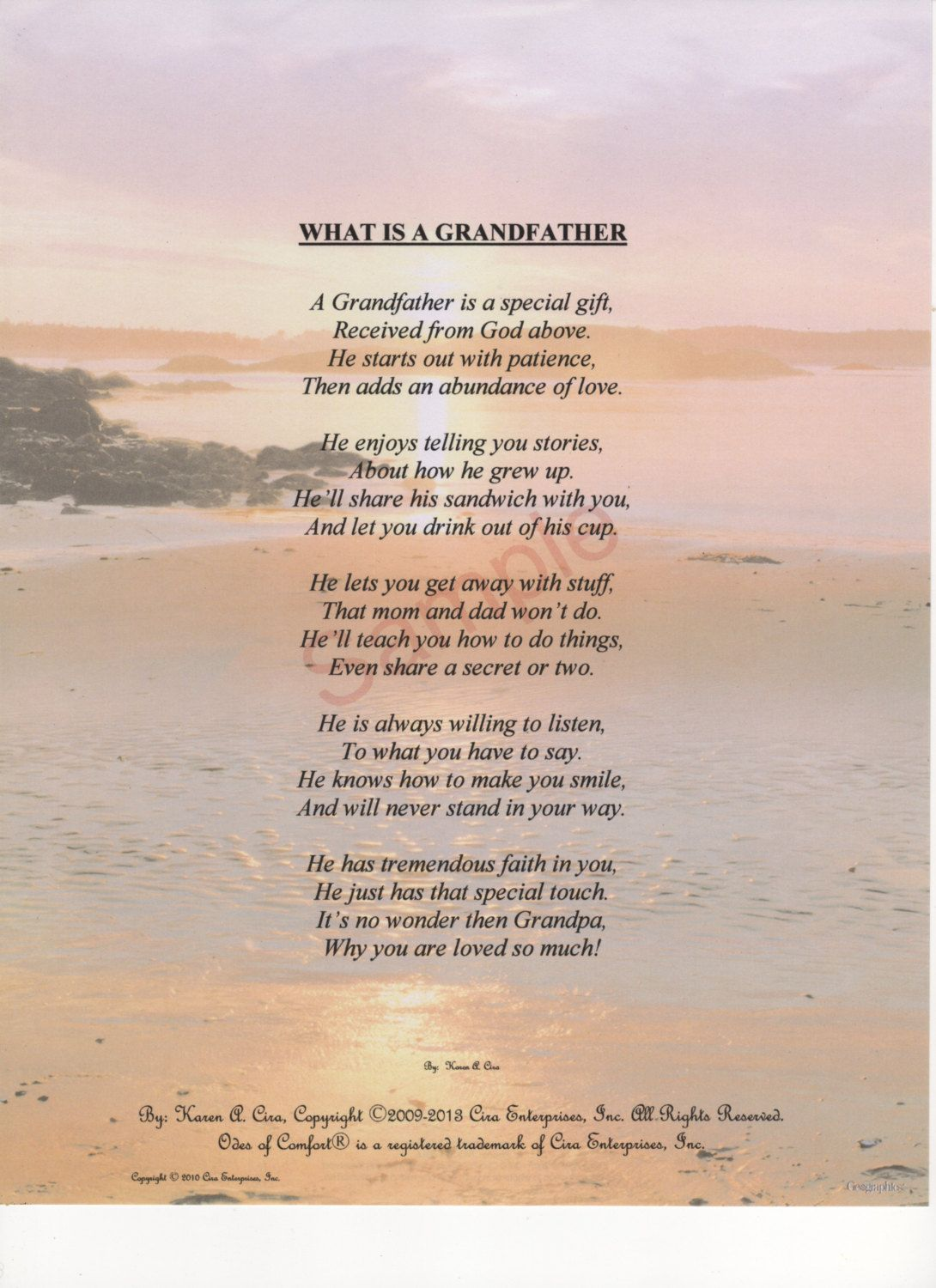 "Five Stanza ""What Is A Grandfather"" Poem shown on ..."
