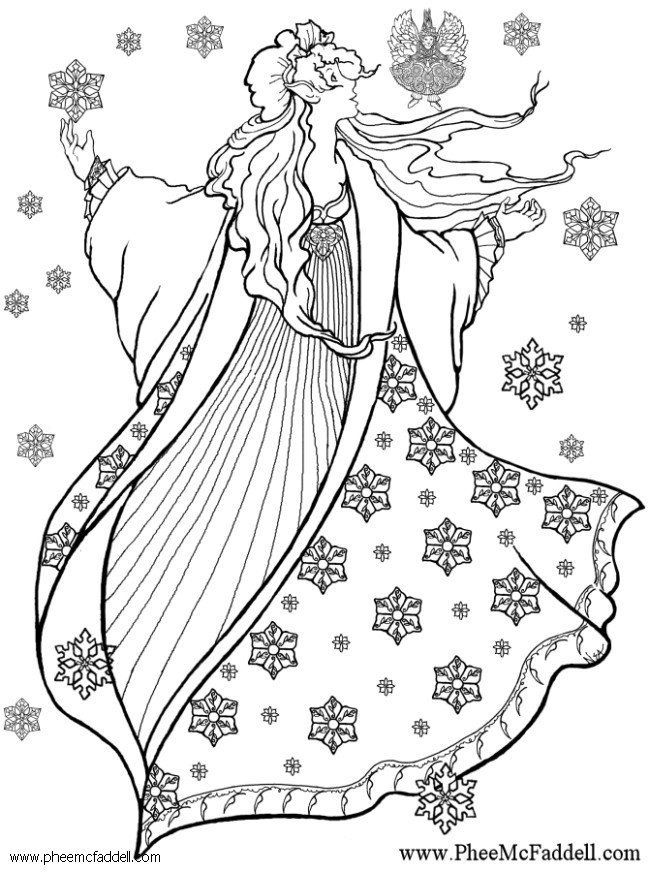 Image detail for -Coloring page winter fairy - img 6126 ...