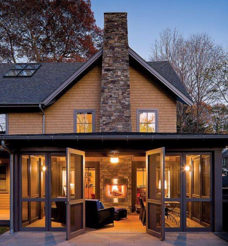 Love this indoor / outdoor living space with fireplace