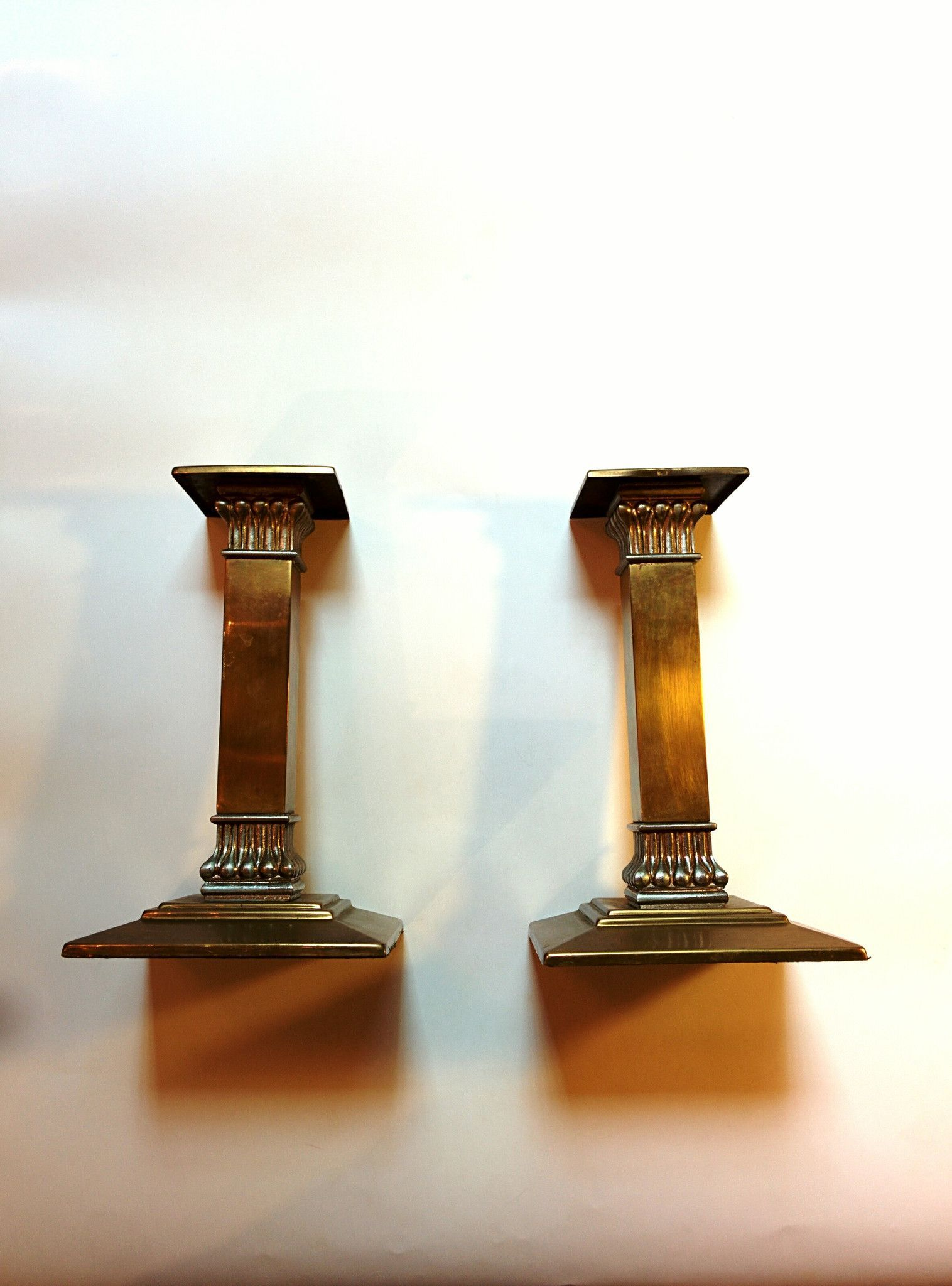 Vintage Brass Column Candle Holders