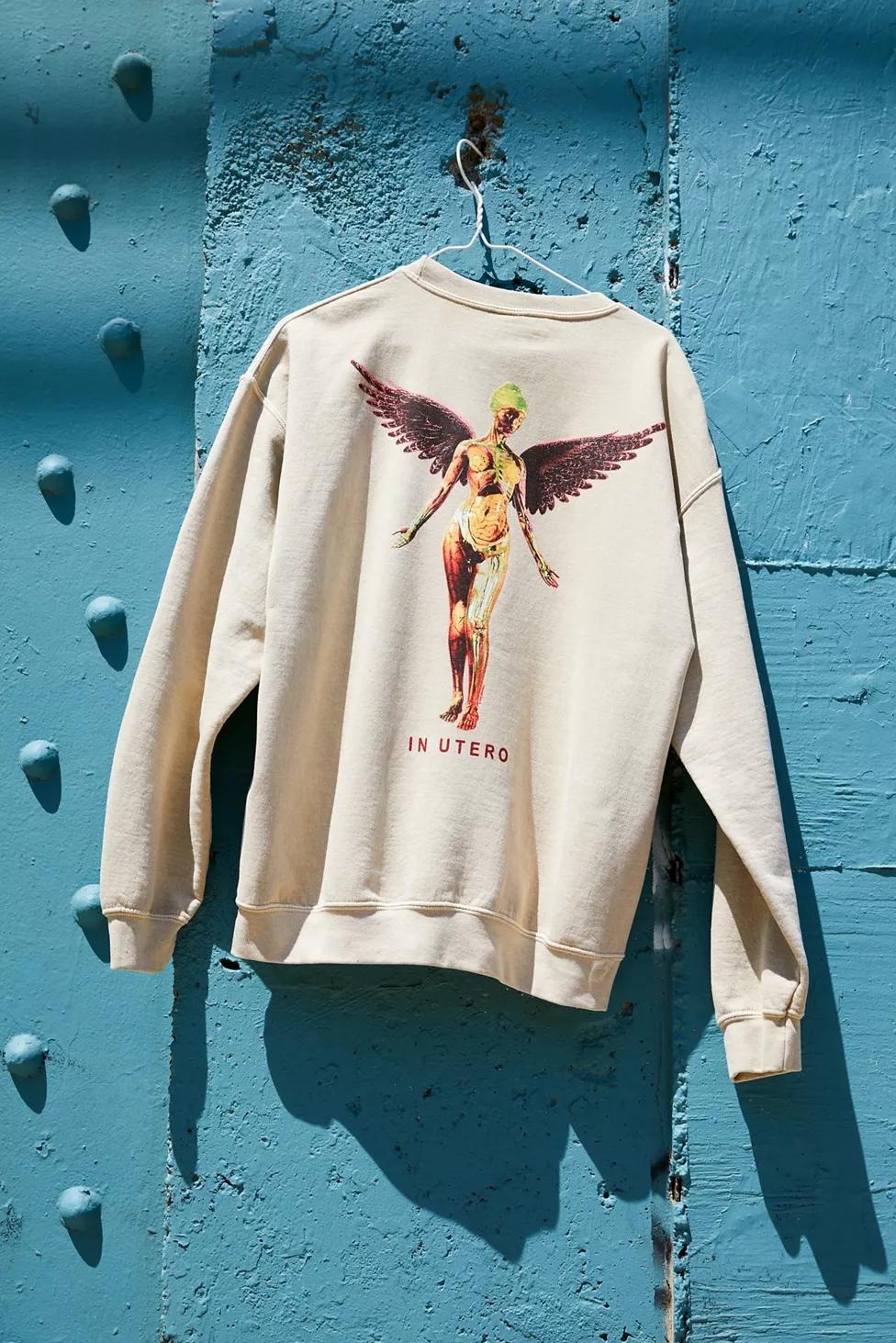 Nirvana In Utero Crew Neck Sweatshirt Crew Neck Sweatshirt Sweatshirts Vintage Clothing Men [ 1463 x 976 Pixel ]