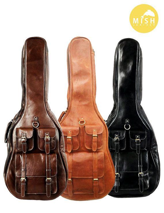 Leather Guitar Case Soft Case Guitar Bag Leather By Mishleather Guitar Bag Guitar Case Leather