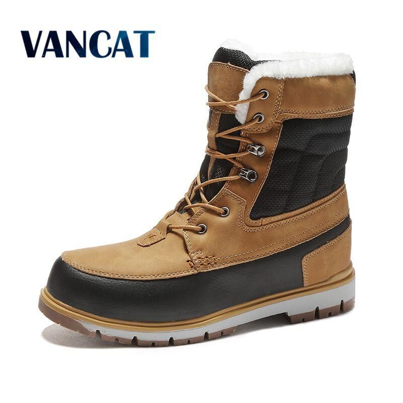 super popular c1847 61d1c Vancat Winter Warm Plush Fur Snow Boots Men Ankle Boot ...