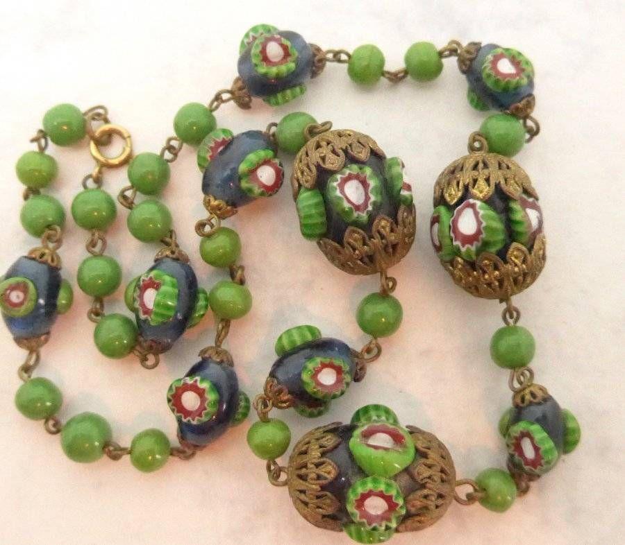Vintage Art Deco Czech Venetian Glass Bead Millefiori Raised Cane Necklace Ebay Czech Jewelry Vintage Art Deco African Trade Beads