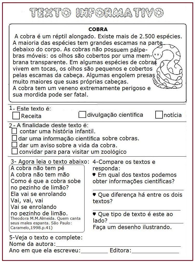 Texto Informativo Cobra Sala De Aula Profª Rerida Textos